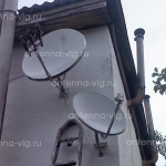 Триколор ТВ, тарелка 0,6 м. Крым, Севастополь. Сверху тарелка с мультифидом на 3 спутника